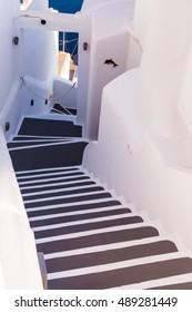 steep steps , beautiful details of Santorini island, Greece