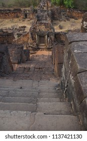 Steep stone stairway of Banteay Kdei, Cambodia