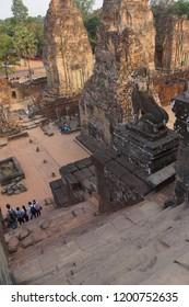 Steep stone stairway of Banteay Kdei, Cambodia