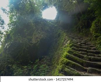 Steep Stone Steps along the Inca Trail to Machu Picchu, Peru