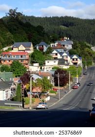 Steep street in Dunedin, New Zealand