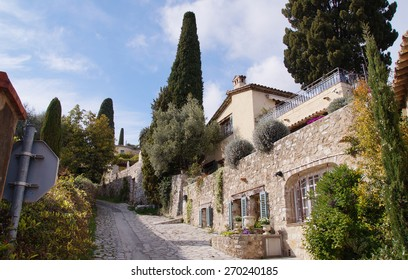 A steep street next to Saint-Paul de Vence which have a medieval fortified hilltop village,is  one of the most picturesque places north of Nice
