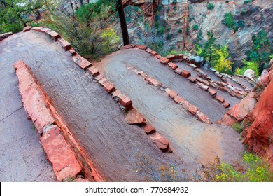 Steep switchbacks called Walters Wiggles ascend the Angels Landing Trail of Zion National Park in Utah