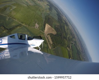 A Steep Turn from a Solo Training Flight. Shot from the Aircraft's Wing. Single engine piston aircraft.