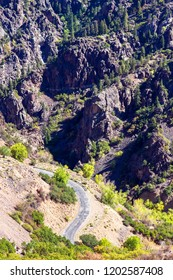 A steep, twisty road leads down to the Gunnison River at Black Canyon of the Gunnison National Park