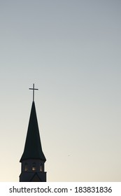 Steeple of church and quiet place