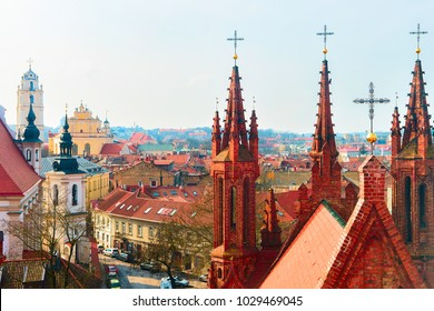 Steeples of Church of Saint Anne and cityscape in the Old city of Vilnius, in Lithuania.