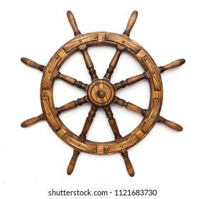 Steering hand wheel ship on white background