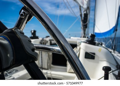 Steering the Rudder of Sport Sailing Yacht Cote d'Azur Italy
