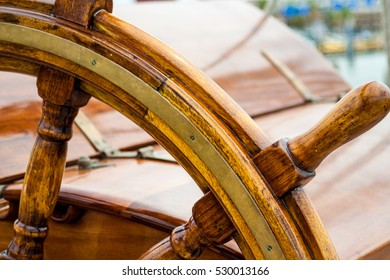 The steering wheel from the boat the Elissa in Galveston, Texas