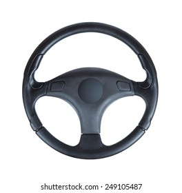 Steering wheel of a car isolated on white background