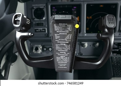 Steering wheel in a cockpit of aircraft Boeing 737-400. Borispol airport administration's demonstration for mass-media. October 20, 2018. Borispol, Ukraine