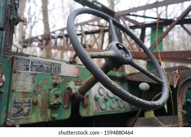 Steering wheel and console of an old military crane
