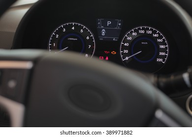 steering wheel and dashboard in the car