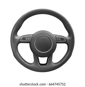Steering wheel driver of prestige modern car isolated on white