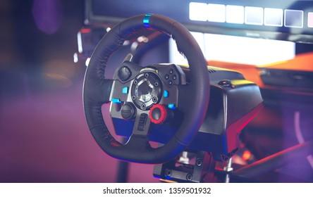 Steering wheel for driving game simulator, E-sport technology game entertainment