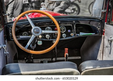 Steering wheel and interior of a vintage car