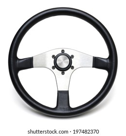 steering wheel isolated white background
