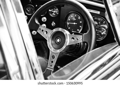 steering wheel of old car