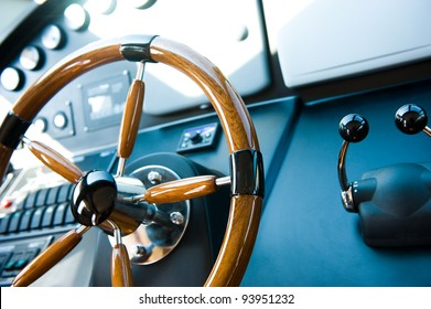 steering wheel on a luxury yacht.