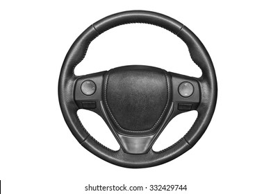 Steering wheel on a white background.