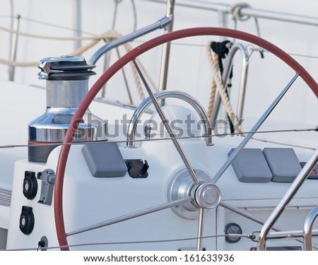 Steering Wheel On White Boat Stock Photo (Edit Now) 161633936