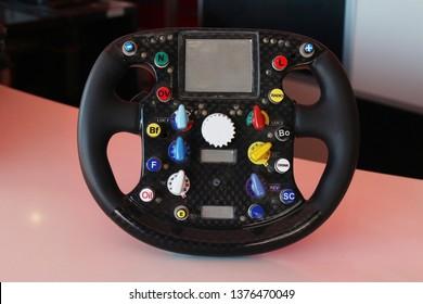 steering wheel of a racing car