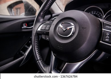 Steerwheel of Mazda 6. MOSCOW, RUSSIA - MARCH 17, 2019: Parked car in the center of city open by owner and specially prepared for taking pictures.