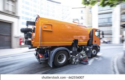 steet sweeper truck speeding
