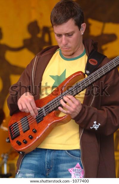 Stefan Lessard - bass player in Dave MAtthews Band  at the 2005 New Orleans Jazzfest