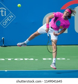 Stefanos Tsitsipas (GRE) defeats David Goffin (BEL) at the Citi Open tennis tournament on August 3, 2018 in Washington DC