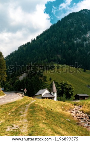 Steg, Liechtenstein, 20th August 2018:- The small church in the central village of Steg on the road to Malbun the only ski resort in Liechtenstein