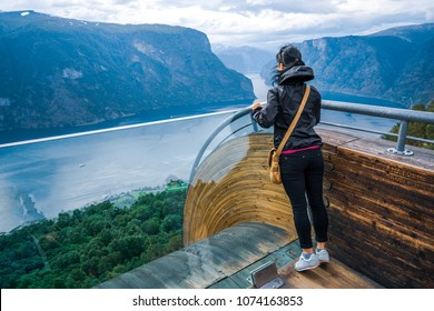 Stegastein Lookout observation deck view point Beautiful Nature Norway.