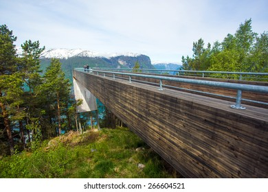 Stegastein viewpoint, 650 meters above the fjord. A fantastic view of the fjord landscape