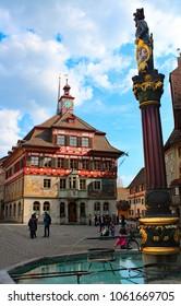 Stein am Rhein, Schaffhausen/Switzerland - 03/25/2018: Town hall of Stein am Rhein