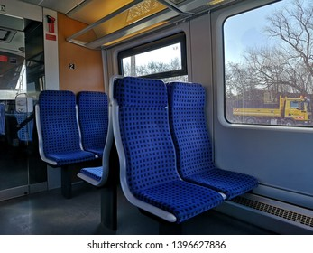 Steinach (b Rothenburg ob de Tauber) station, Germany - February 16, 2019: The Blue seat in Local DB Train at Steinach station transit to Rothenburg ob de Tauber city in Germany