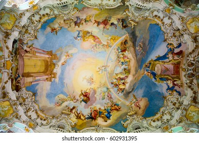 Steingaden, Germany - June 5, 2016: Ceiling of Pilgrimage Church of Wies. It is an oval rococo church, designed in the late 1740s by Dominikus Zimmermann. Region of Upper Bavaria, Germany.