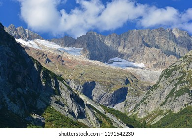 Steinlauihorn in the Bernese Alps overlooking Handegg, Switzerland. Viewed from the South East