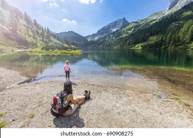 The Steirersee at 1447m is a mountain lake of Tauplitzalm - Austria and surrounded by natural forest. The mountain range is part of the Toten Gebirge. This Lake is one of the 6 lake hiking route.