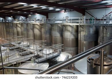 stell barrels in winemaker factory