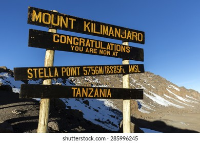Stella Point on Mount Kilimanjaro in Tanzania, Africa.