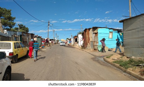 Stellenbosch / South Africa - April 2016: On the streets of a township or favela in Stellenbosch near Cape Town.