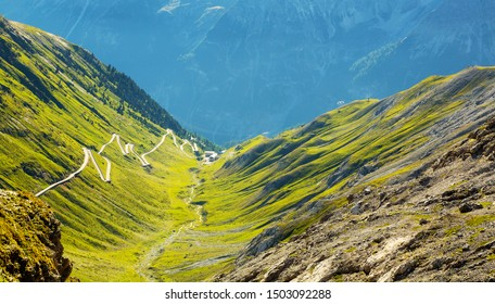 Stelvio National Park (IT) - Trafoi Valley - View of the road in the Province of Trento