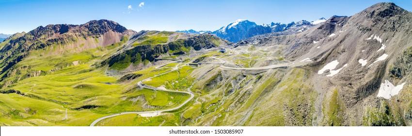 Stelvio National Park - Stelvio Pass 2757 mt. - Panoramic aerial view