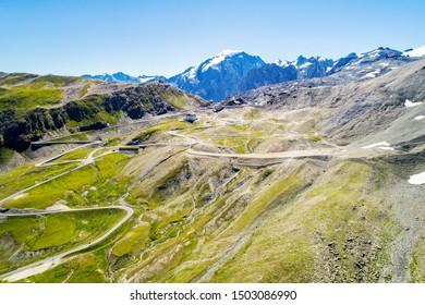 Stelvio National Park - Stelvio Pass 2757 mt. - Panoramic aerial