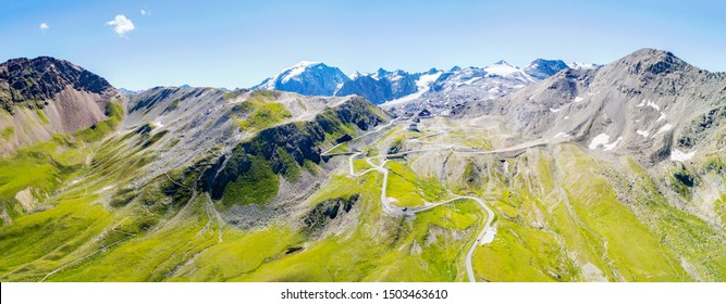 Stelvio National Park - Stelvio Pass 2757 mt. - Panoramic aerial view with the Ortles glacier at the bottom
