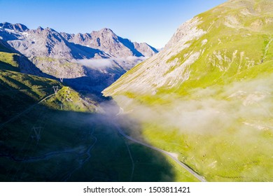 Stelvio National Park - Valle del Braulio - Aerial view from the IV Cantoniera