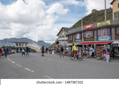 Stelvio Pass, Bolzano, Bormio, Lombardy, Italy - August 22, 2019. Bicycles reach the top of the Stelvio Pass in a westerly direction.