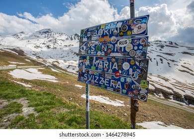 STELVIO PASS, ITALY, JUNE 20, 2019 - Road signs at Stelvio Pass, the highest automobile pass in Italy, 2758 metres, located between Trentino-Alto Adige and Lombardy, Italy.
