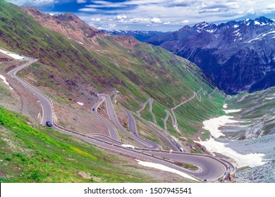 Stelvio Pass / Italy. Long winding road at the last part of the Stelvio Pass seen from the top